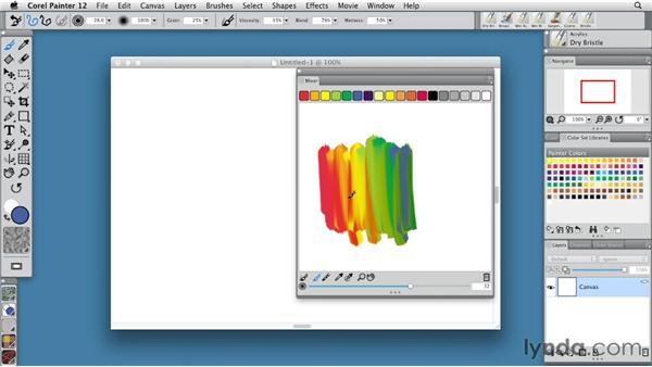 Mixing color with the Mixer palette: Painter 12 Essential Training