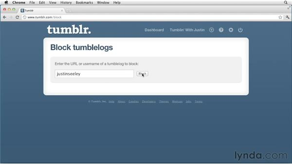 Blocking and unblocking users: Up and Running with Tumblr