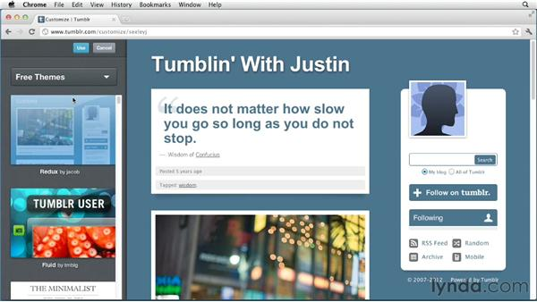 Choosing a Tumblr theme: Up and Running with Tumblr