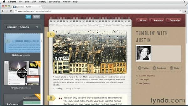 Upgrading to a premium theme: Up and Running with Tumblr