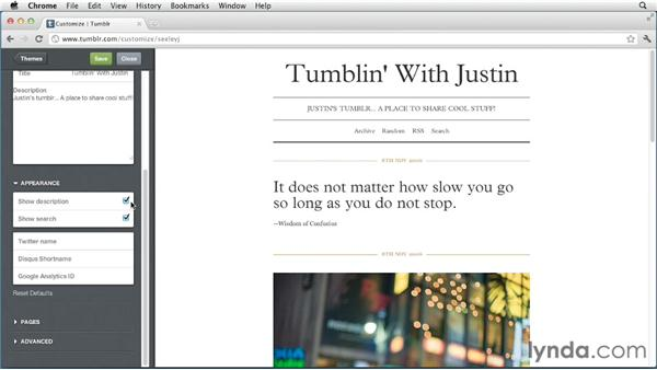 Adjusting basic appearance settings: Up and Running with Tumblr