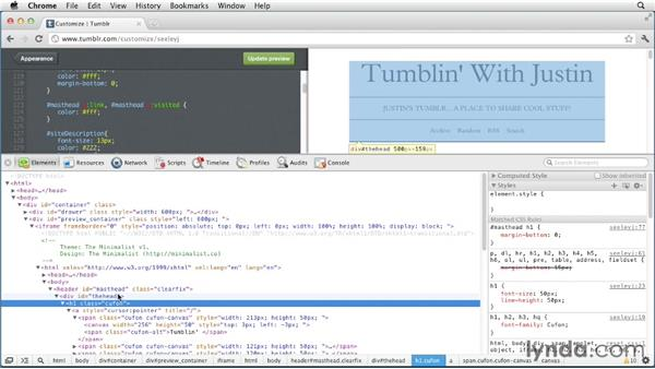 Modifying the CSS of a theme: Up and Running with Tumblr