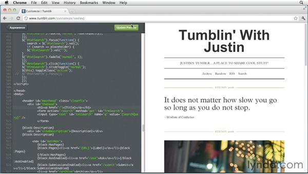 Modifying the HTML of a theme: Up and Running with Tumblr