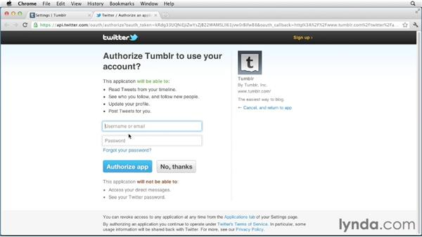 Adding Twitter and Facebook integration: Up and Running with Tumblr