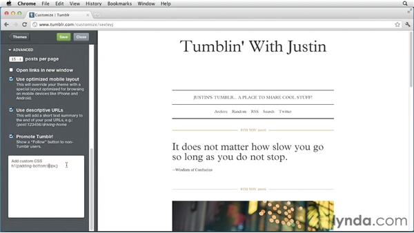 Adding your own CSS: Up and Running with Tumblr