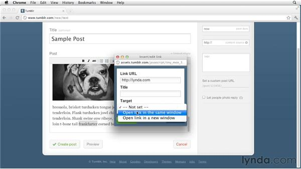 Creating simple text posts: Up and Running with Tumblr