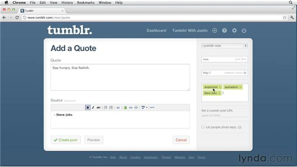 Creating quote posts: Up and Running with Tumblr