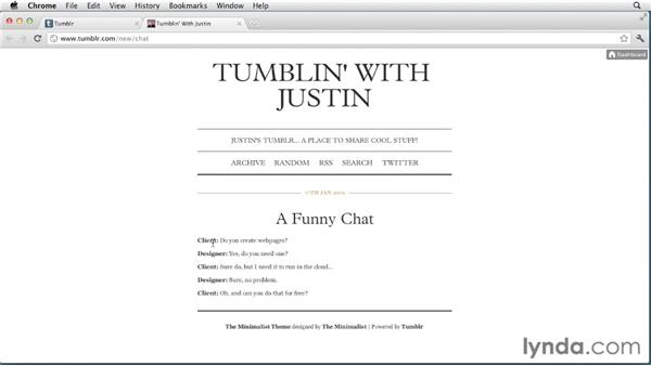 Creating chat posts: Up and Running with Tumblr