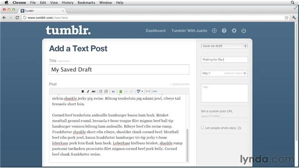 Saving posts as drafts: Up and Running with Tumblr