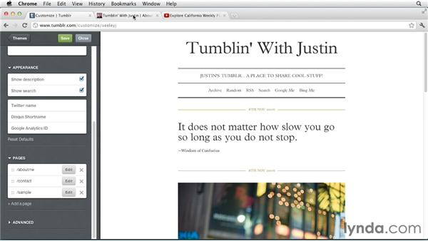 Inserting video and images into pages: Up and Running with Tumblr