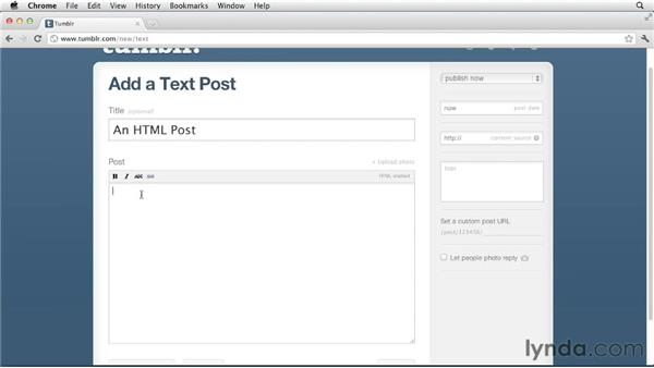 Editing posts using HTML: Up and Running with Tumblr