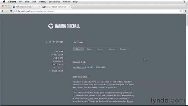 Editing posts using Markdown: Up and Running with Tumblr