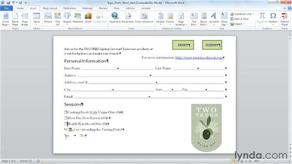 Designing forms in Word: Acrobat X: Creating Forms