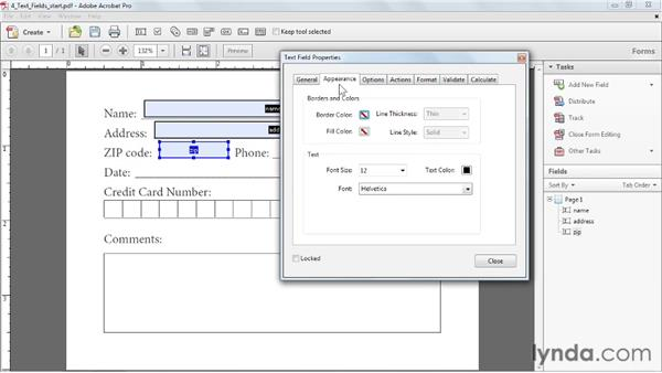 Creating text fields: Acrobat X: Creating Forms