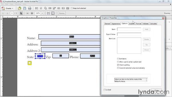 Creating dropdown boxes: Acrobat X: Creating Forms