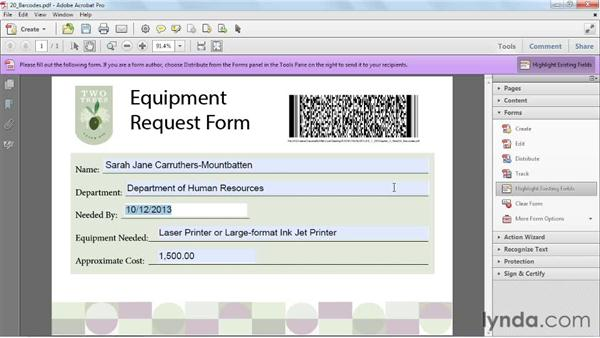 Reading barcodes: Acrobat X: Creating Forms