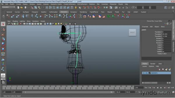 Creating the spine skeleton: Character Rigging in Maya