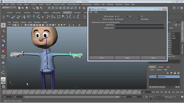 Mirroring joint chains: Character Rigging in Maya