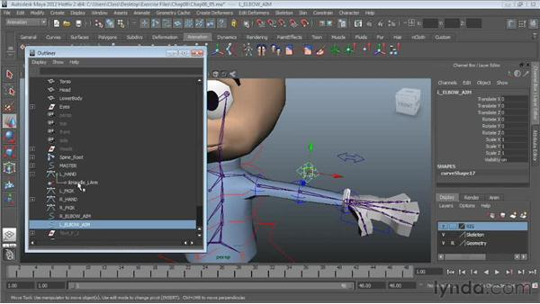 Setting up elbow controls: Character Rigging in Maya