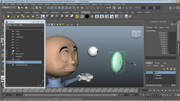 Rigging non-spherical eyes: Character Rigging in Maya