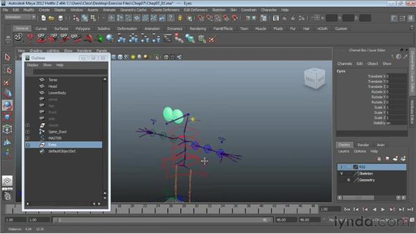 Attaching eyes to the skeleton: Character Rigging in Maya