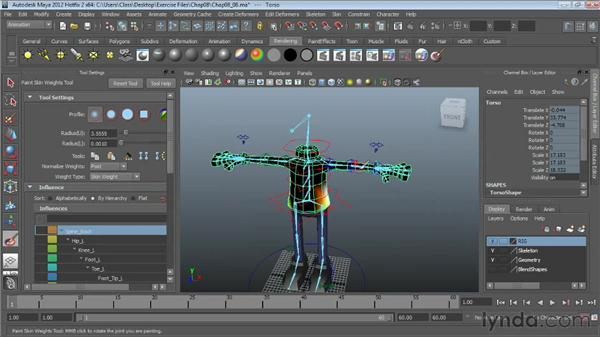Refining skin on the upper body: Character Rigging in Maya