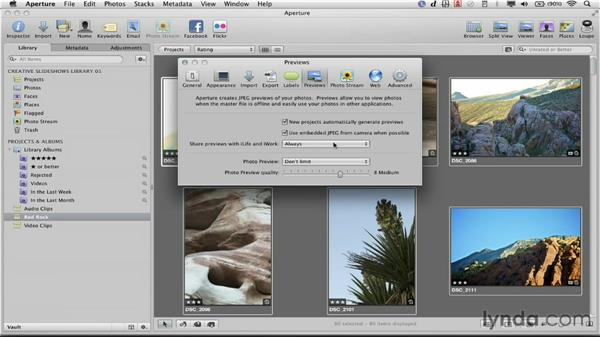 Using high-resolution previews: Creative Slideshows with Aperture