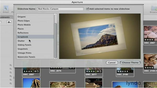 Creating a slideshow album and picking a theme: Creative Slideshows with Aperture