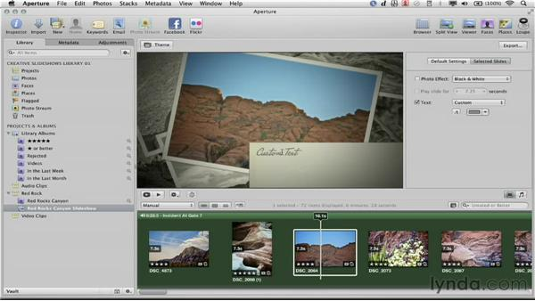 Applying photo effects and text to slides: Creative Slideshows with Aperture