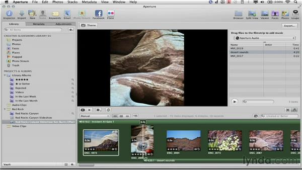 Adding audio to the secondary audio track: Creative Slideshows with Aperture