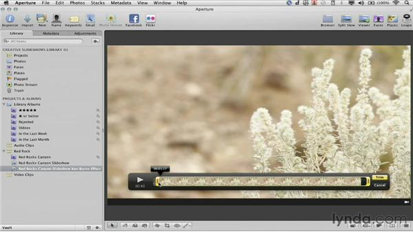 Trimming a video clip: Creative Slideshows with Aperture