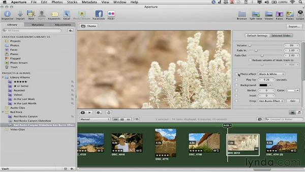 Mixing audio and adding effects: Creative Slideshows with Aperture