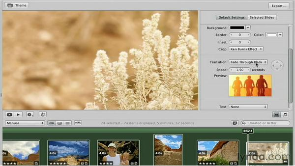 Setting the default transition: Creative Slideshows with Aperture