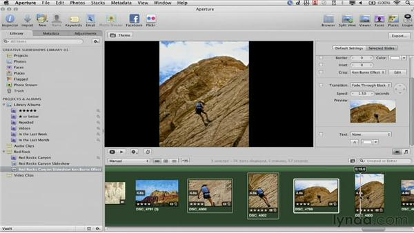 Customizing transitions for an individual slide: Creative Slideshows with Aperture