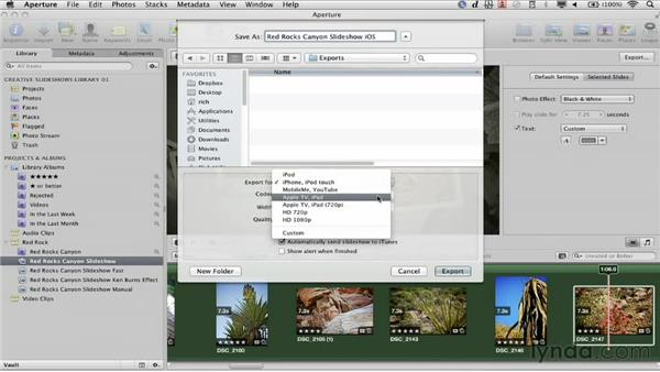 Exporting for iOS devices: Creative Slideshows with Aperture