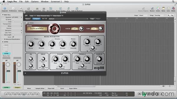Setting the tuning parameters: Virtual Instruments in Logic Pro