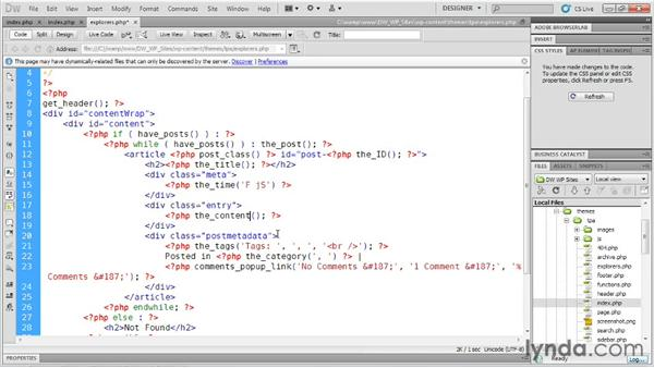 Coding a basic template: Dreamweaver and WordPress: Building Sites