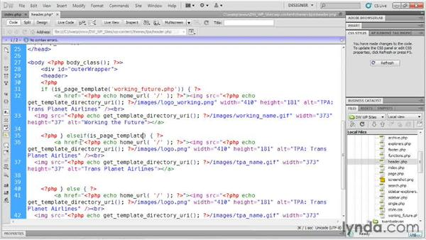 Changing a template header: Dreamweaver and WordPress: Building Sites