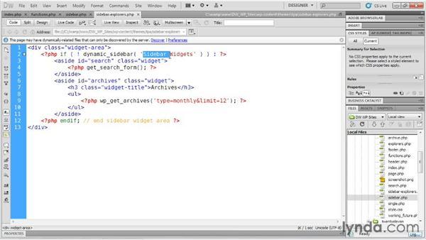 Adding a custom sidebar: Dreamweaver and WordPress: Building Sites