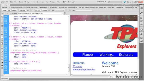 Setting template styles: Dreamweaver and WordPress: Building Sites
