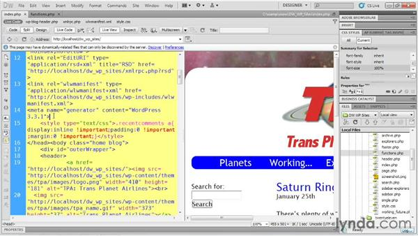 Hooking into PHP functions: Dreamweaver and WordPress: Building Sites