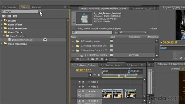 The Brightness & Contrast effect: Fixing Video Exposure Problems in Premiere Pro