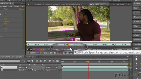 Extracting with the RotoBrush tool: Fixing Video Exposure Problems in Premiere Pro