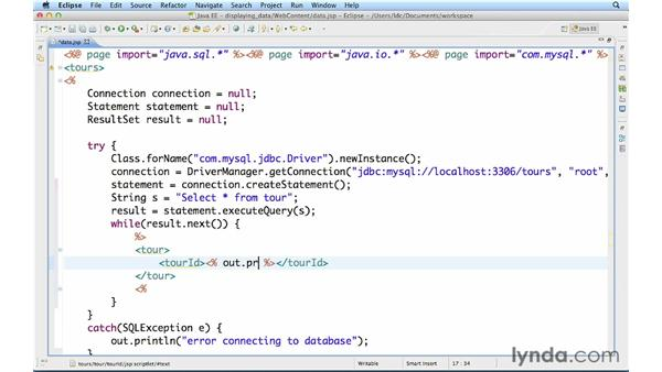 Displaying data from a database as XML: Up and Running with Java Applications (2012)