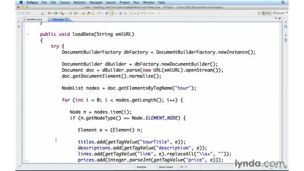 Loading XML data from the web: Up and Running with Java Applications (2012)