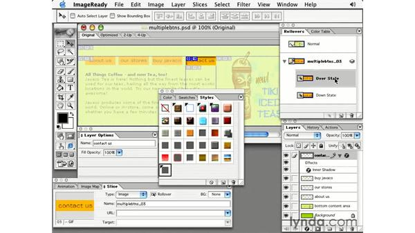 apply a rollover style to multiple buttons: Photoshop 7 Slices, Rollovers & Animation