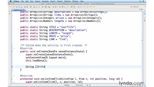 Displaying loaded XML in a list: Up and Running with Java Applications (2012)