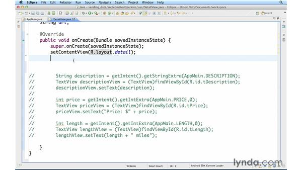 Sending data to a new intent: Up and Running with Java Applications (2012)