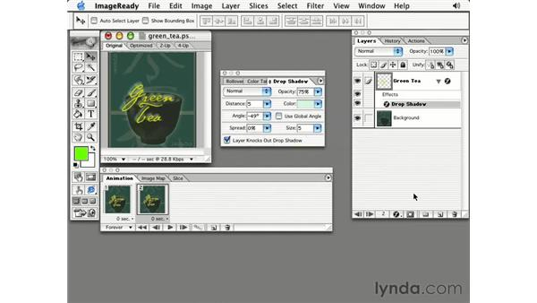 layer effects: Photoshop 7 Slices, Rollovers & Animation
