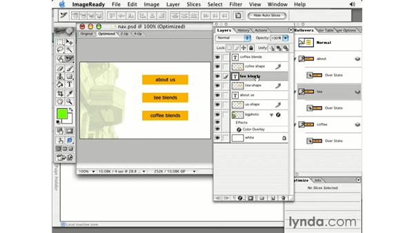 update HTML: Photoshop 7 Slices, Rollovers & Animation